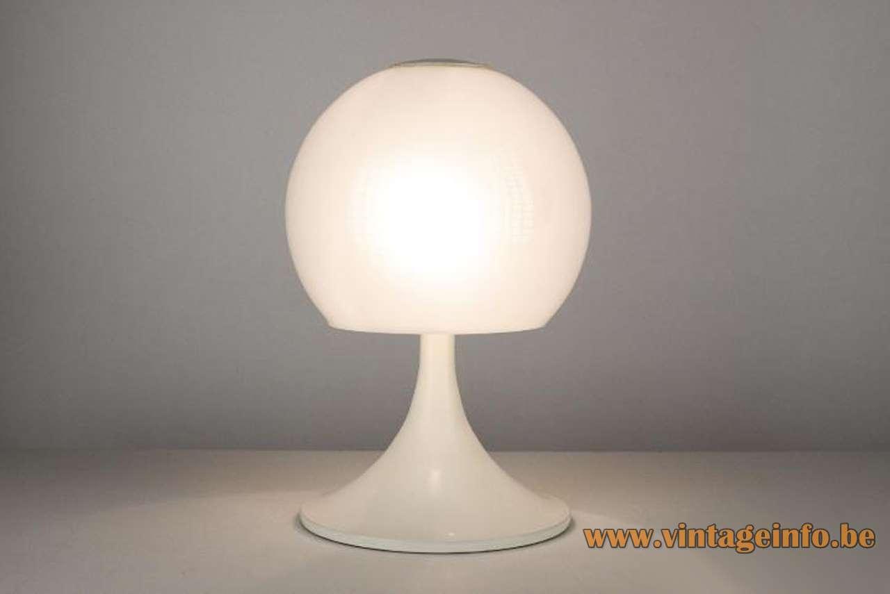 Joan Antoni Blanc table lamp opal glass globe Tramo Barcelona Spain 1960s 1970s MCM Mid-Century Modern