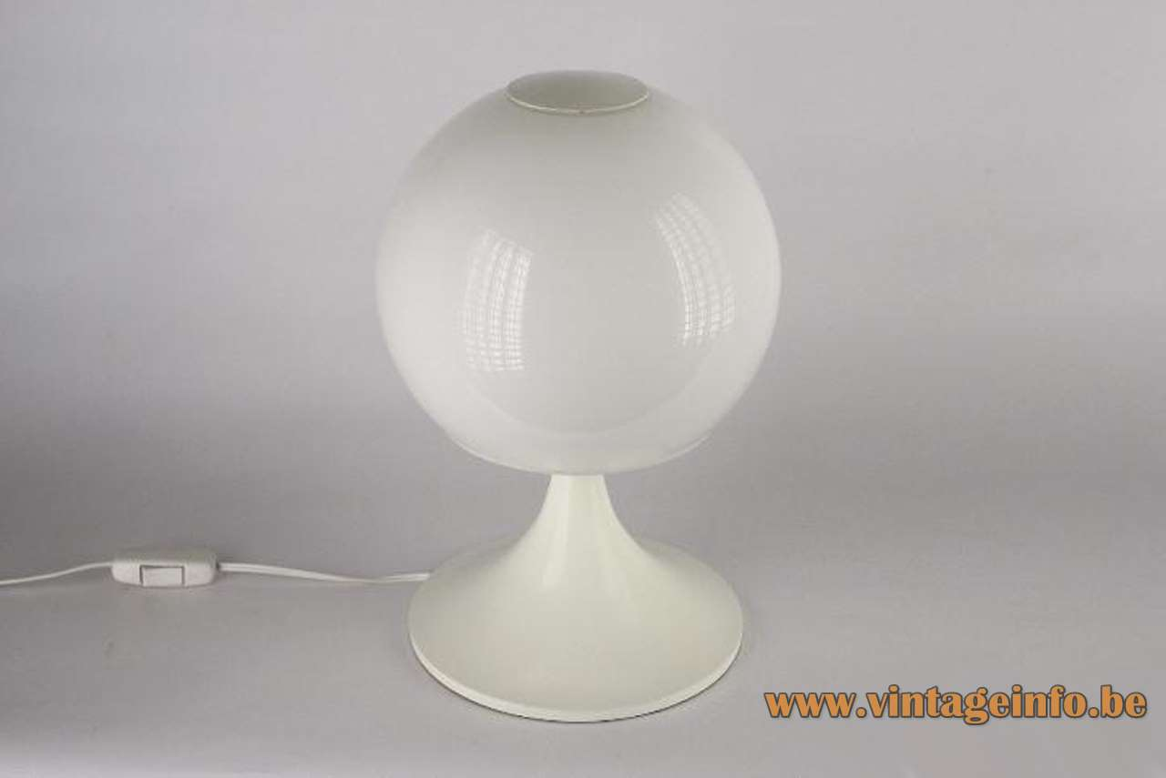 Joan Antoni Blanc globe table lamp white round base opal glass sphere Tramo 1960s 1970s Spain