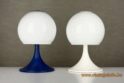 Tramo table lamps opal glass globe design: Joan Antoni Blanc Barcelona Spain 1960s 1970s MCM Mid-Century Modern