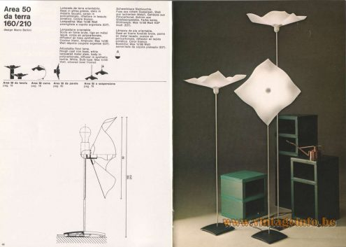 Mario Bellini Area 50 Floor Lamp - 1976 Artemide Catalogue Picture