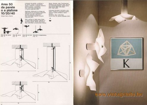 Mario Bellini Area 50 Flush Mount & Wall Lamp - 1976 Artemide Catalogue Picture