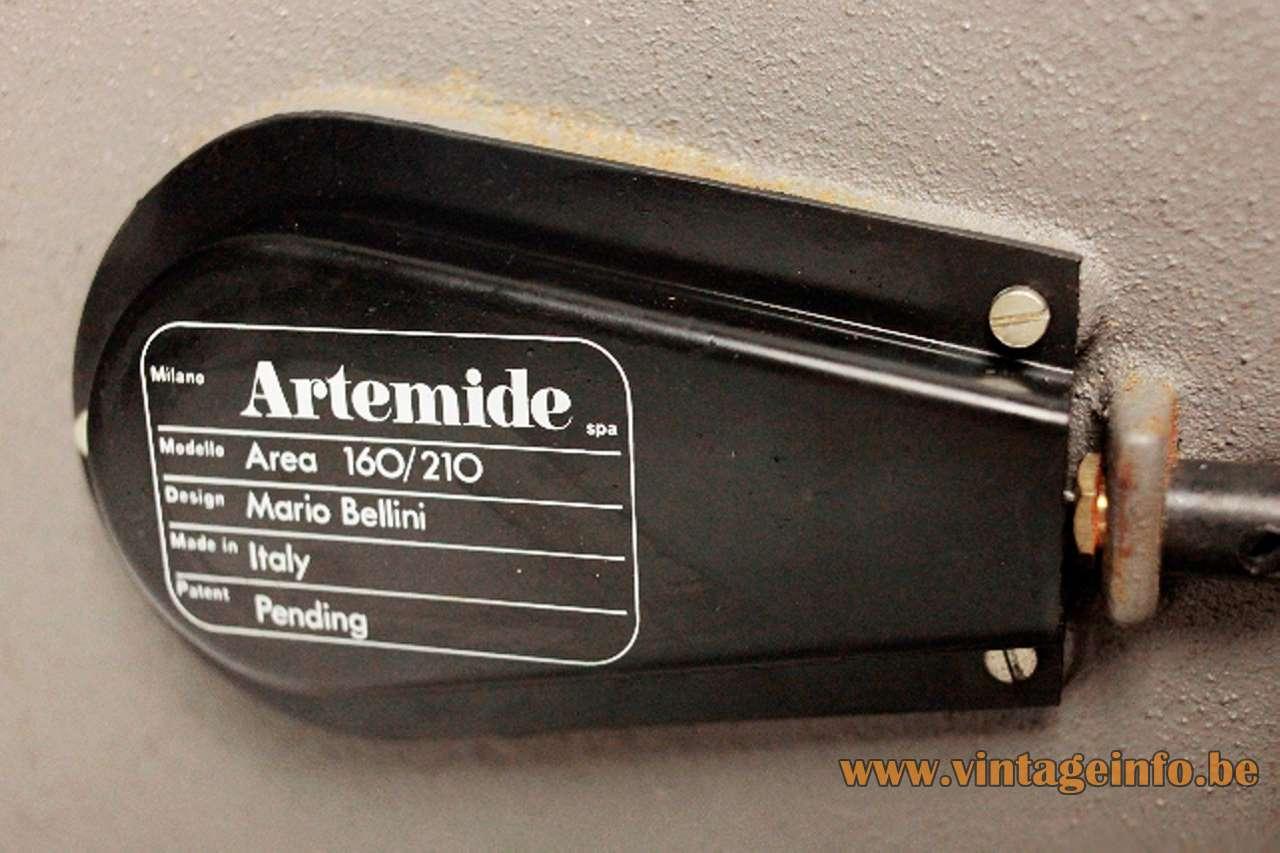 Mario Bellini Area 50 floor lamp 1974 design square grey base textile lampshade 1970s Artemide label