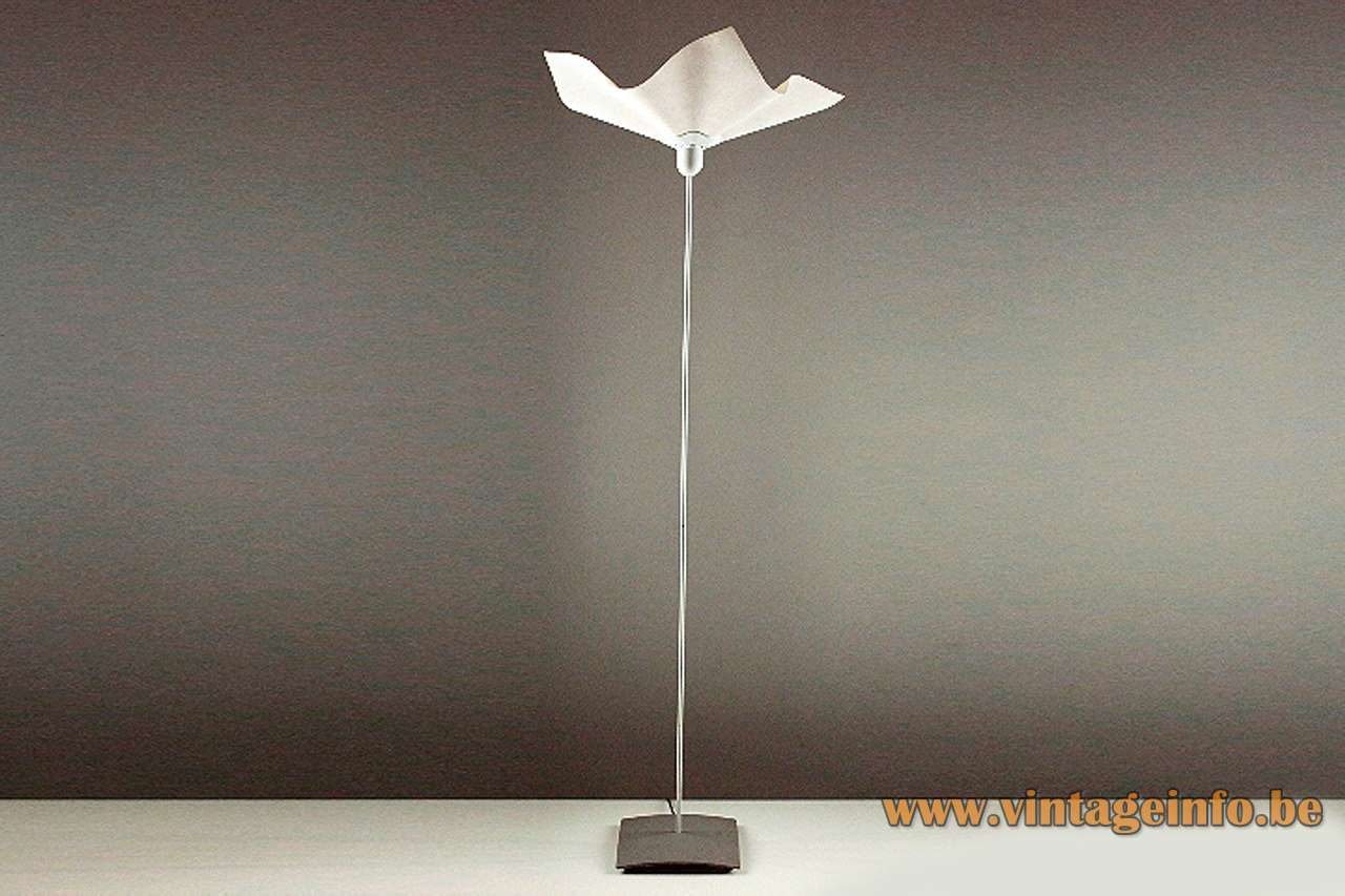 Mario Bellini Area 50 floor lamp 1974 design square grey base textile lampshade 1970s Artemide Italy