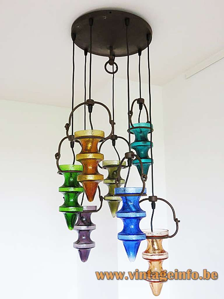 Chandelier with coloured glass stalactites pendants made by Val Saint Lambert and Massive Belgium E14 sockets