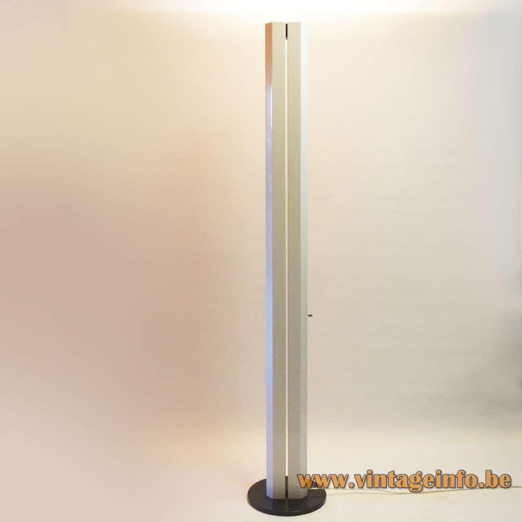 Megaron style floor lamp Artemide design: Gianfranco Frattini elongated angular light 1970s MCM Mid-Century Modern