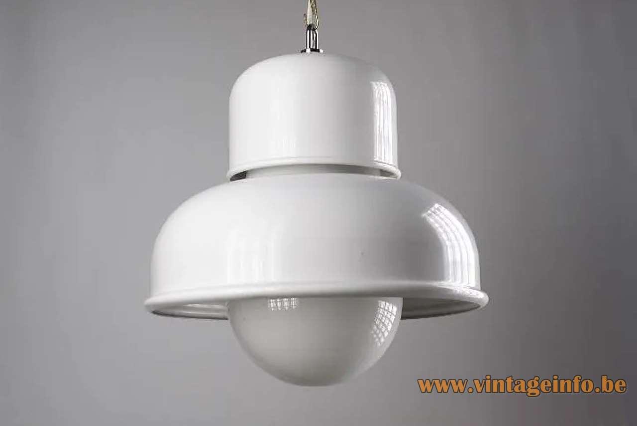 Tramo pendant lamp design: Miguel Milá white metal opal glass globe 1970s MCM Mid-Century Modern Barcelona Spain
