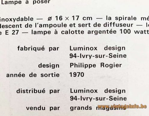 Philippe Rogier Luminox Table Lamp - Catalogue Picture