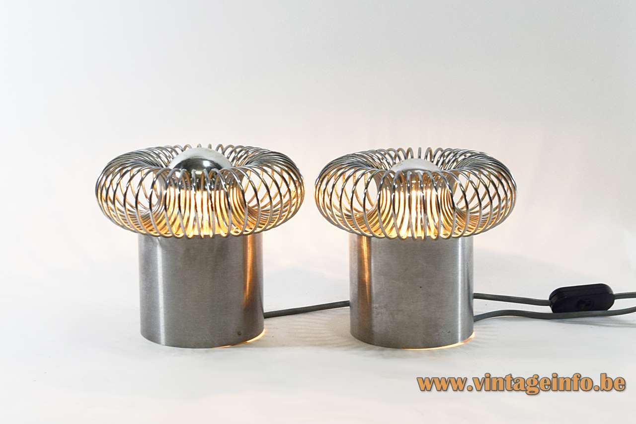 Philippe Rogier Oxar table lamps stainless steel Inox tube & spring design Andréa Lazzari Morosini 1970s Luminox