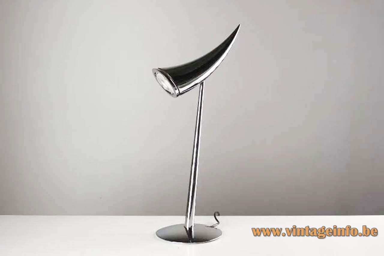 FLOS table lamp ARA' design: Philippe Starck chrome halogen GU4 curved lampshade horn 1980s 1990s 2000s