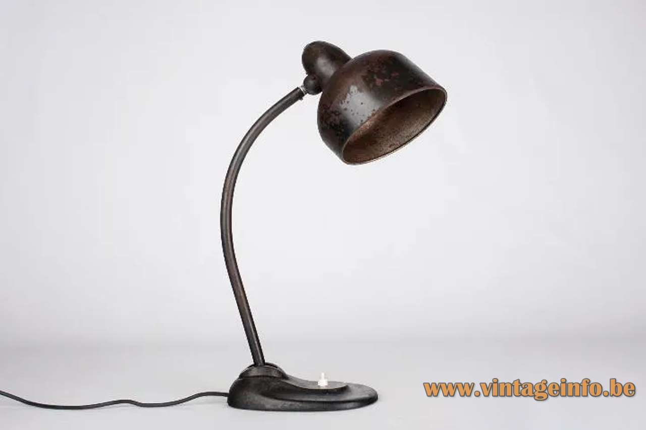 Schröder Escolux desk lamp black metal industrial light curved rod 1930s Bauhaus art deco Germany