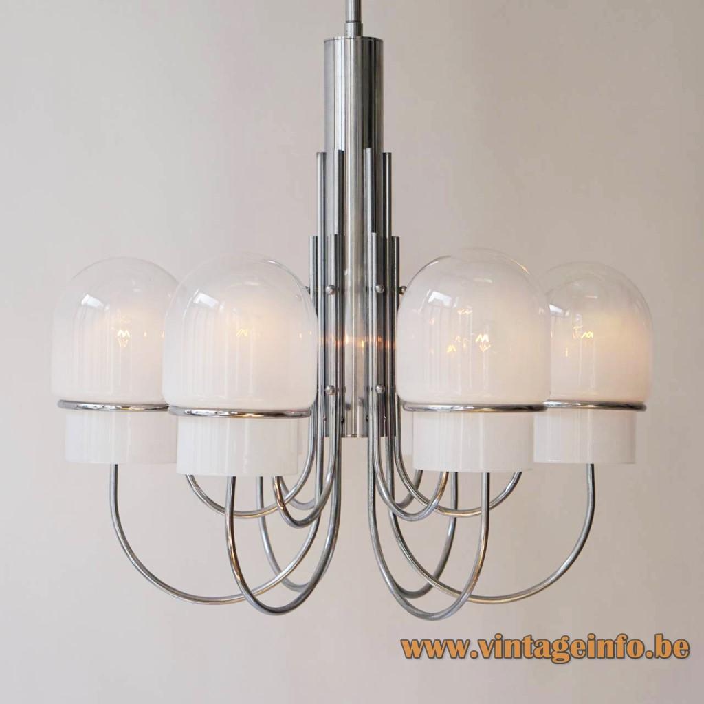 Sciolari chandelier Design: Gaetano Sciolari 6 glass globes chrome rods E27 sockets Italy 1960s, 1970s MCM Mid-Century Modern