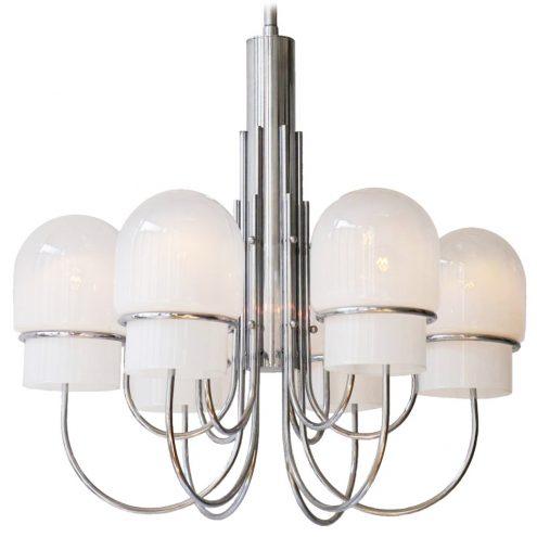 Sciolari chrome & misty glass chandelier design: Gaetano Sciolari 6 glass lampshades curved rods 1960s 1970s Italy