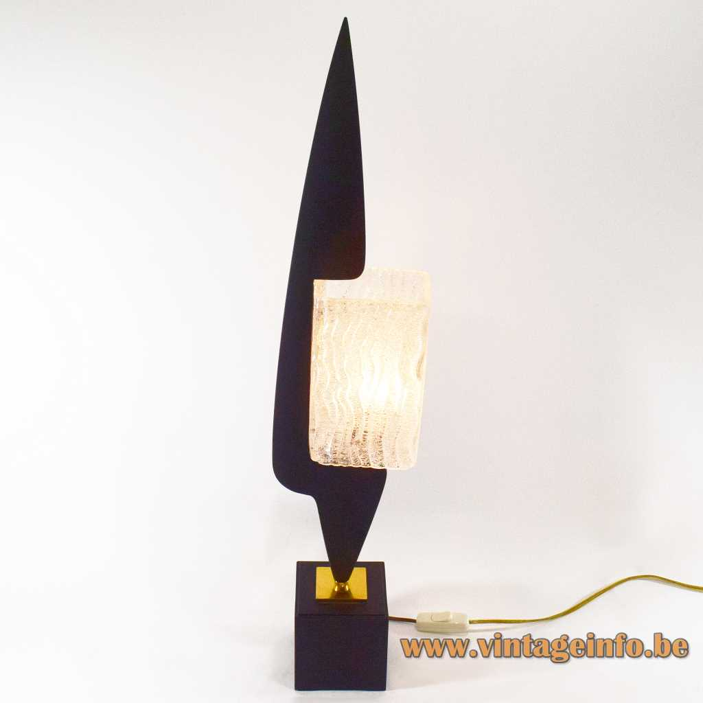 1950s Maison Arlus table lamp black arrow-head wood embossed glass beam lampshade cube base 1960s