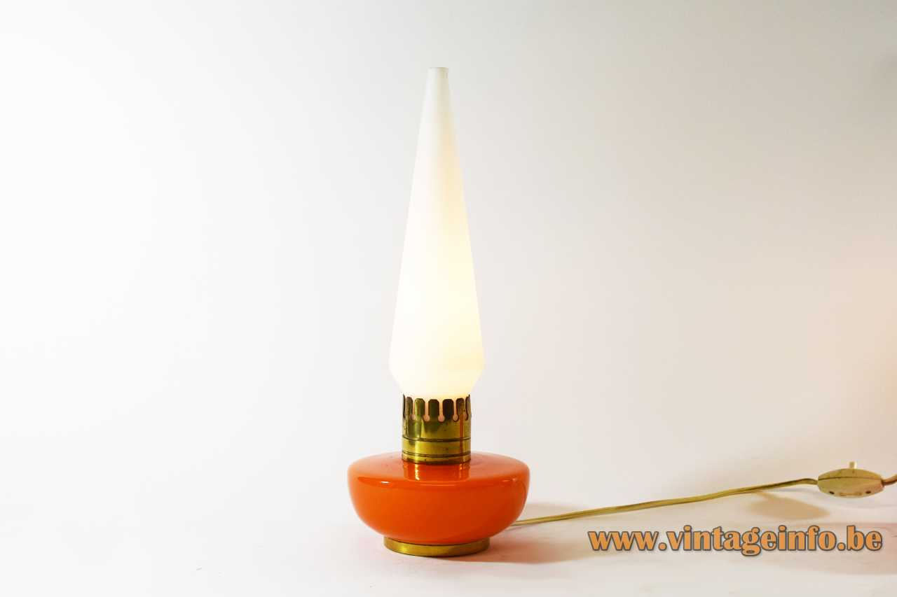 1950s Vistosi bedside table lamp orange Murano glass base brass ring opal candlestick lampshade 1960s Italy