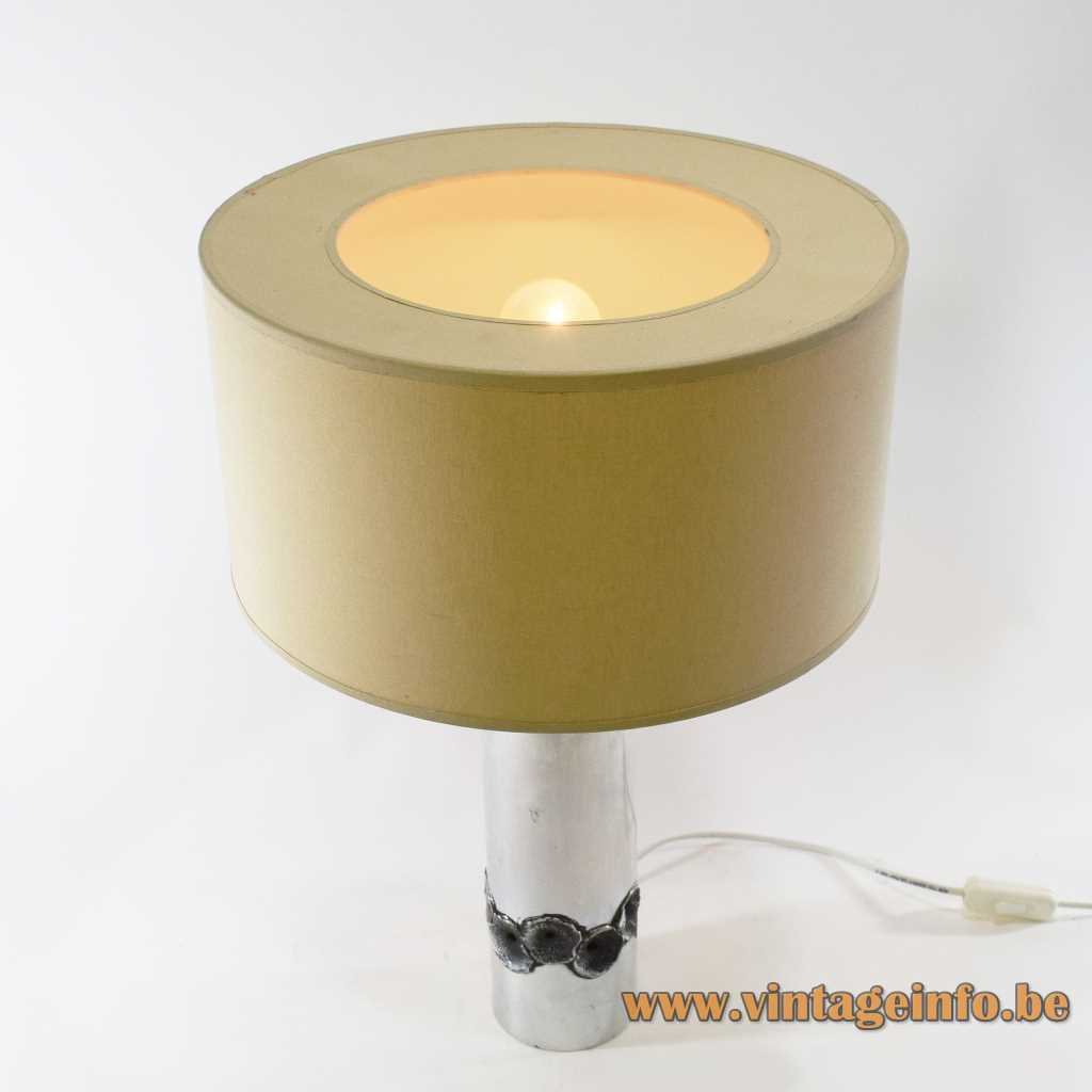 Aluclair aluminium table lamp design: Willy Luyckx burned metal tube brutalist cylinder 1960s 1970s Belgium