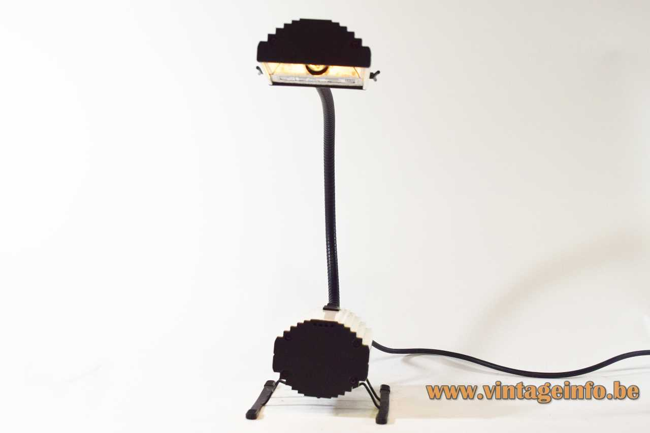 Arteluce Ciao table lamp 1983 design: Ezio Didone 2 sliders white vacuum cleaner sled goose-neck Italy