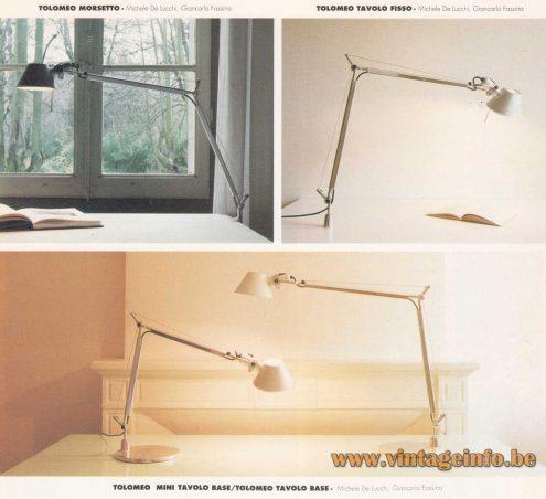 Artemide Tolomeo Table & Clamp Lamp - 1987 Design: Giancarlo Fassina & Michele de Lucchi - 1992 Artemide Catalogue