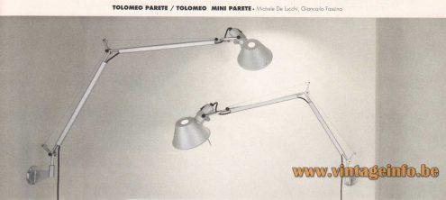 Artemide Tolomeo Wall Lamp - 1987 Design: Giancarlo Fassina & Michele de Lucchi - 1992 Artemide Catalogue