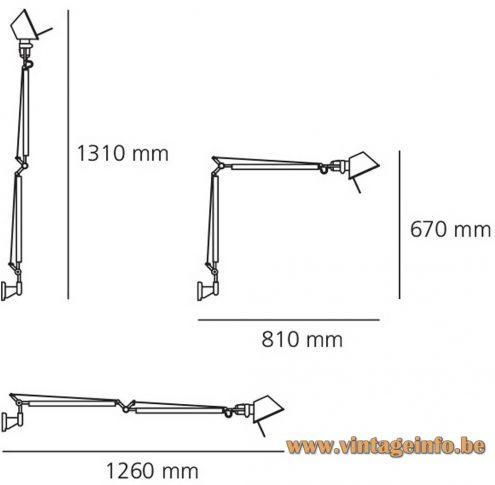 Artemide wall lamp Tolomeo grey silver metal 1987 Design: Giancarlo Fassina & Michele de Lucchi E27 socket