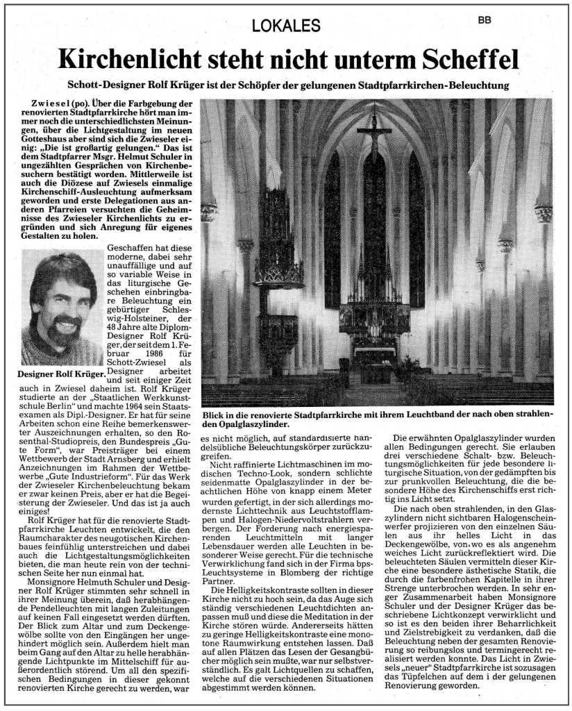 BPS Leuchten-Systeme lamps - Design Rolf Krüger - Newspaper
