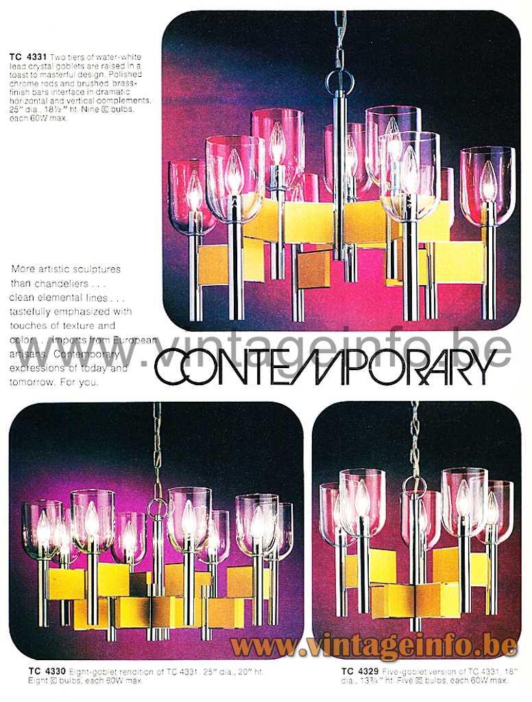 Gaetano Sciolari Domino Chandelier - Progress Lighting 1978 Catalogue