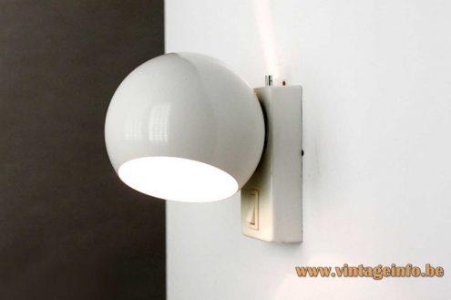 Globe wall lamp Toy Ecolight Metalarte Design: Gaetano Sciolari no Ezio Didone E14 socket 1960s 1970s MCM Mid-Century Modern