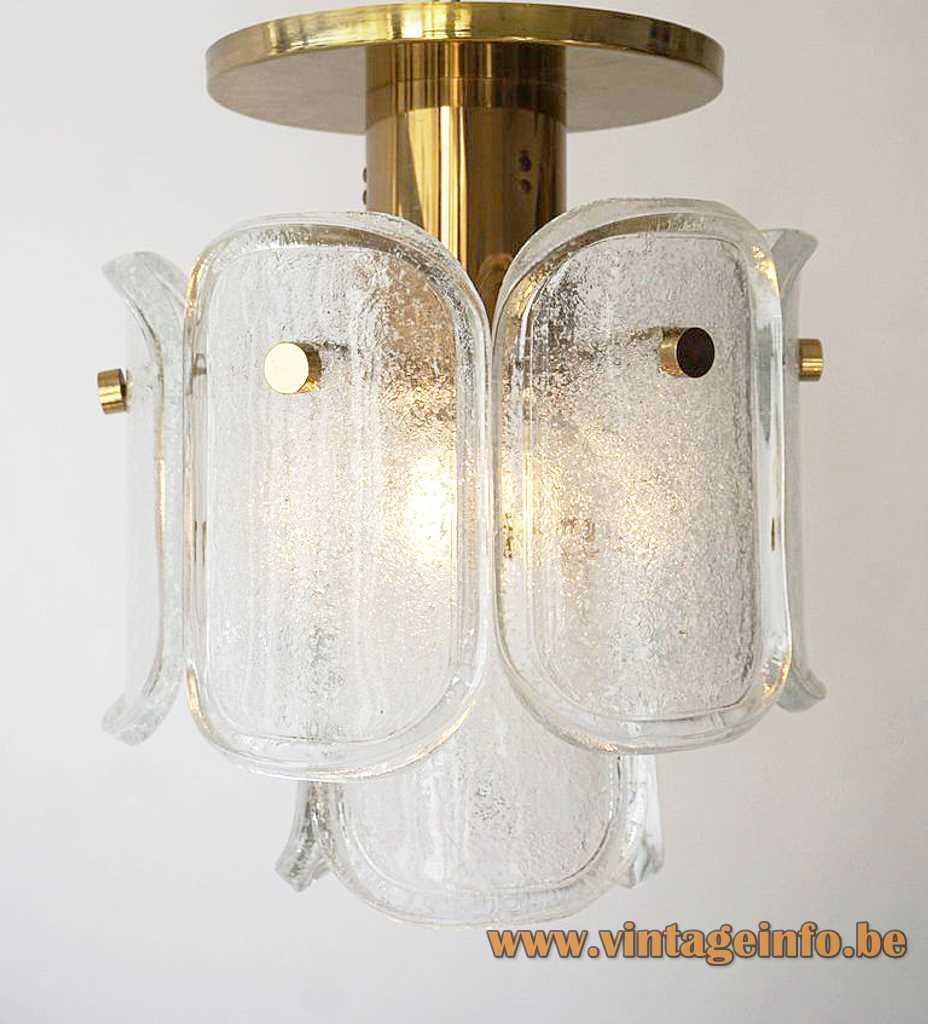 Glashütte Limburg Gußkristall flush mount 9 curved oval bubble glass discs brass tube rods 1970s 1980