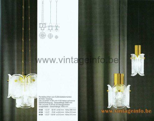 Glashütte Limburg Melting Ice Glass Pendant Lamp - Gußkristall - 1979 Catalogue Picture