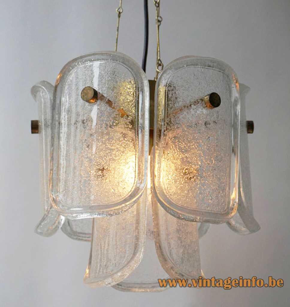 Glashütte Limburg Gußkristall pendant lamp 9 curved oval bubble glass discs brass tube rods 1970s 1980