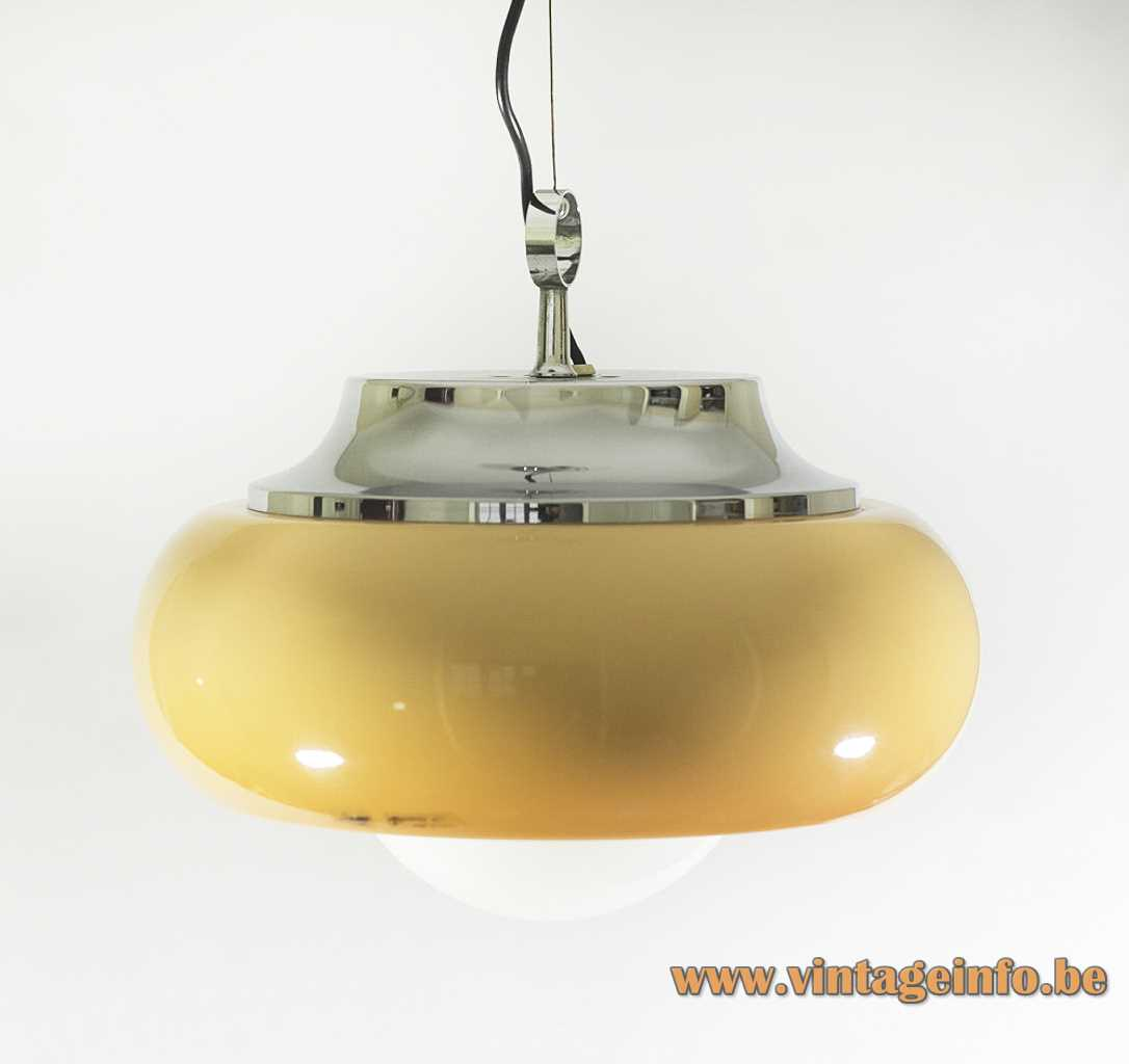 Harvey Guzzini Best pendant lamp brown acrylic lampshade white diffuser chrome lid 1968 design 1960s 1970s