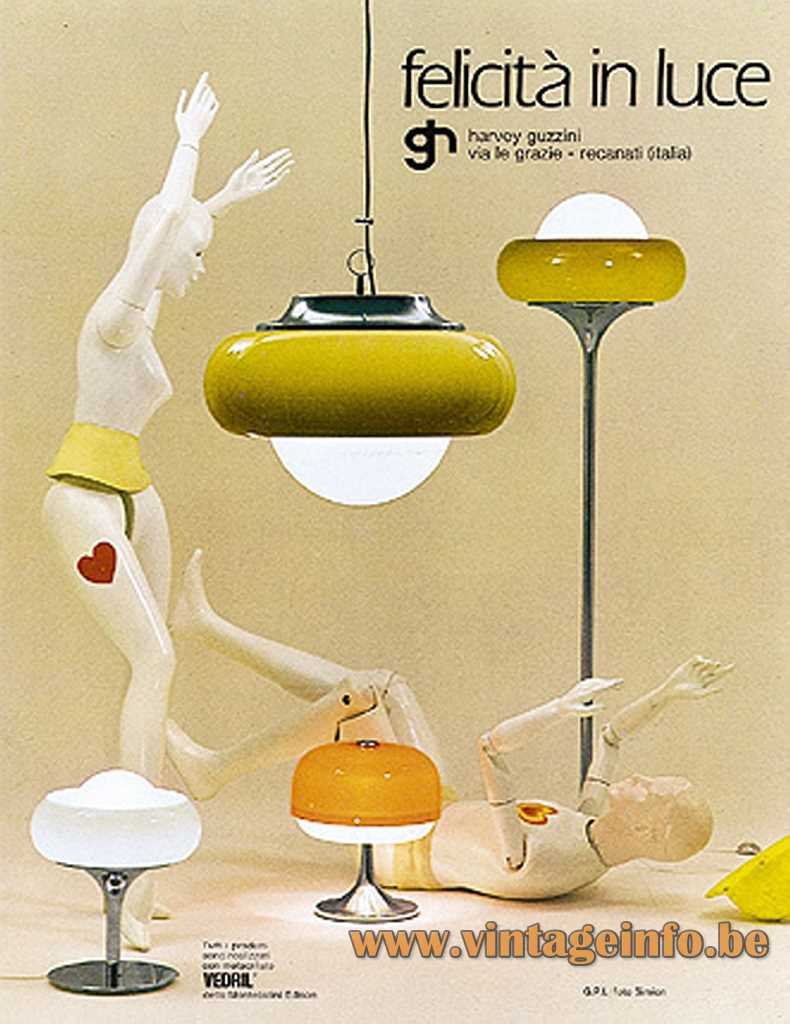 Harvey Guzzini Best Pendant Lamp, Floor Lamp, Table Lamp 1968 Design
