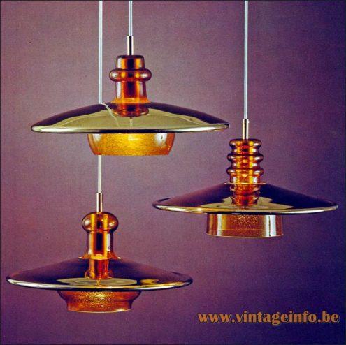 Heinz Neuhaus Amber Glass Pendant Lamps - Design Rolf Krüger