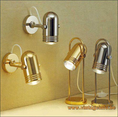 Heinz Neuhaus Chrome & Brass Desk Lamps & Wall Lamps - Design Rolf Krüger