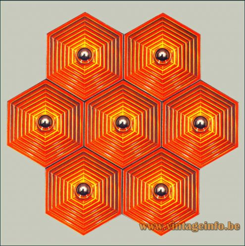 Heinz Neuhaus Orange Hexagon Wall Lamps or Flush Mounts - Design Rolf Krüger