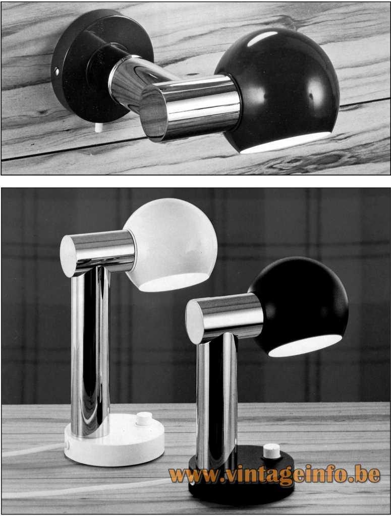 Heinz Neuhaus Tube Eyeball Table Lamp And Wall Lamp - Design Rolf Krüger