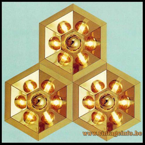 Heinz Neuhaus Hexagon Wall Lamp - Gold - Design Rolf Krüger