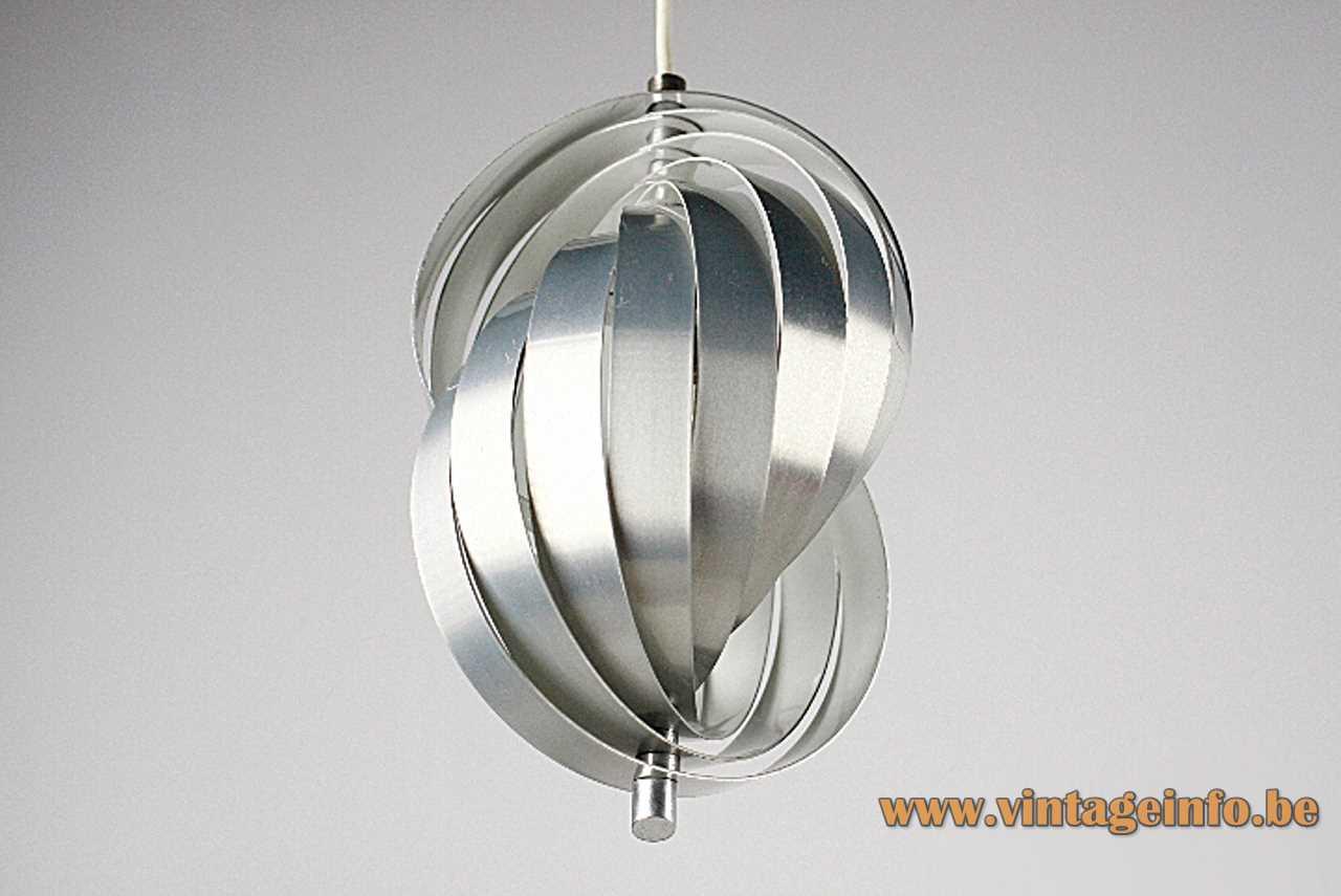 Henri Mathieu Spiral Kinetics pendant lamp adjustable curved aluminium slats white inside 1960s 1970s France