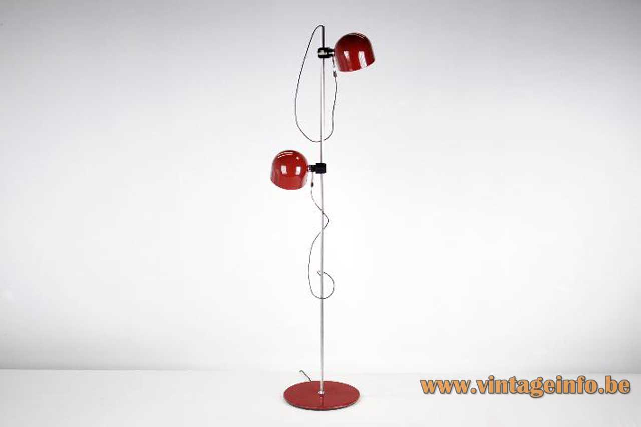 Ignasi Riera Llum floor lamp 1970s design red flat base & lampshade chrome rod black knob Spain