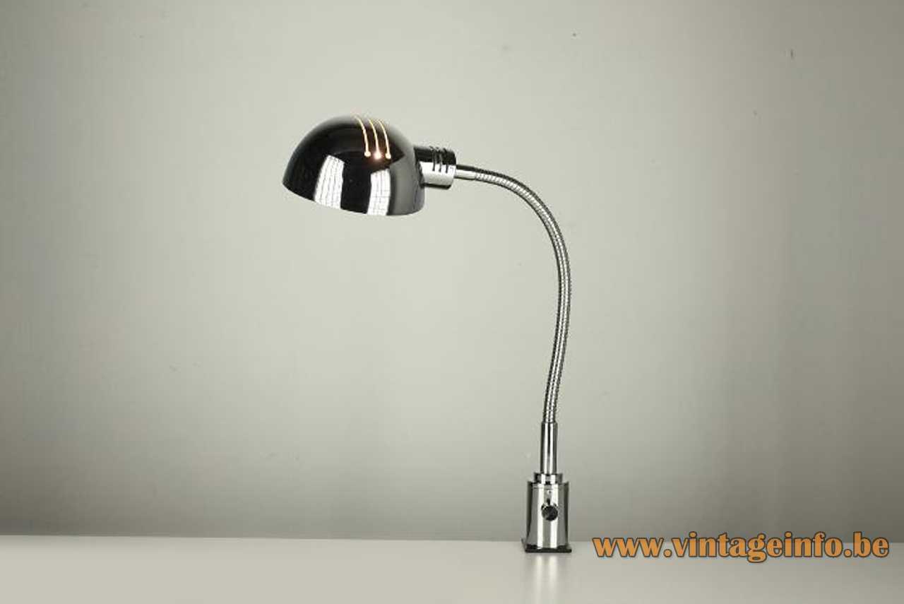 Josep Magem 1970s chrome clamp lamp elongated slots lampshade gooseneck & dimmer Magem design Madom Spain
