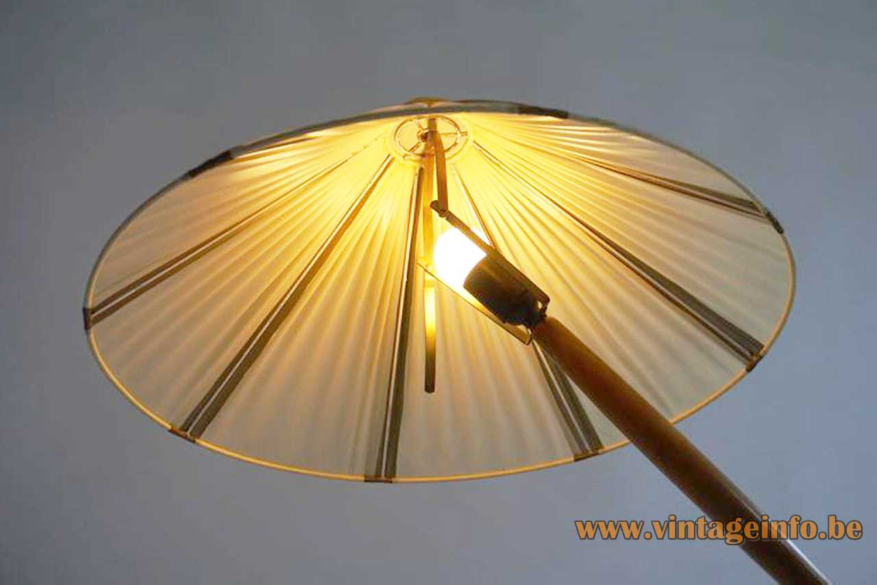 Kalmar Franken floor lamp brass circle base wood handles striped fabric parasol lampshade Austria 1950s 1960s