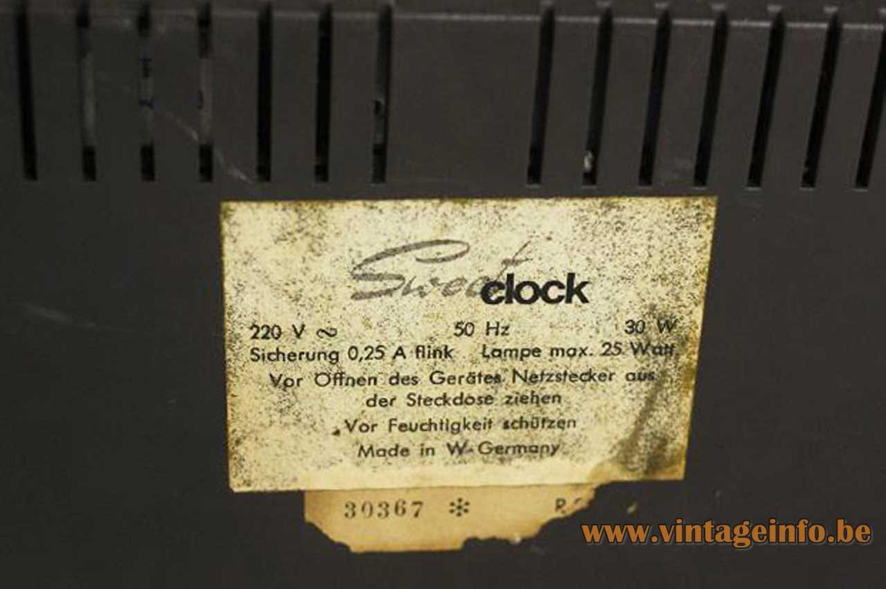 Kuba clock radio lamp Sweet-Clock R27 label 1960s West Germany