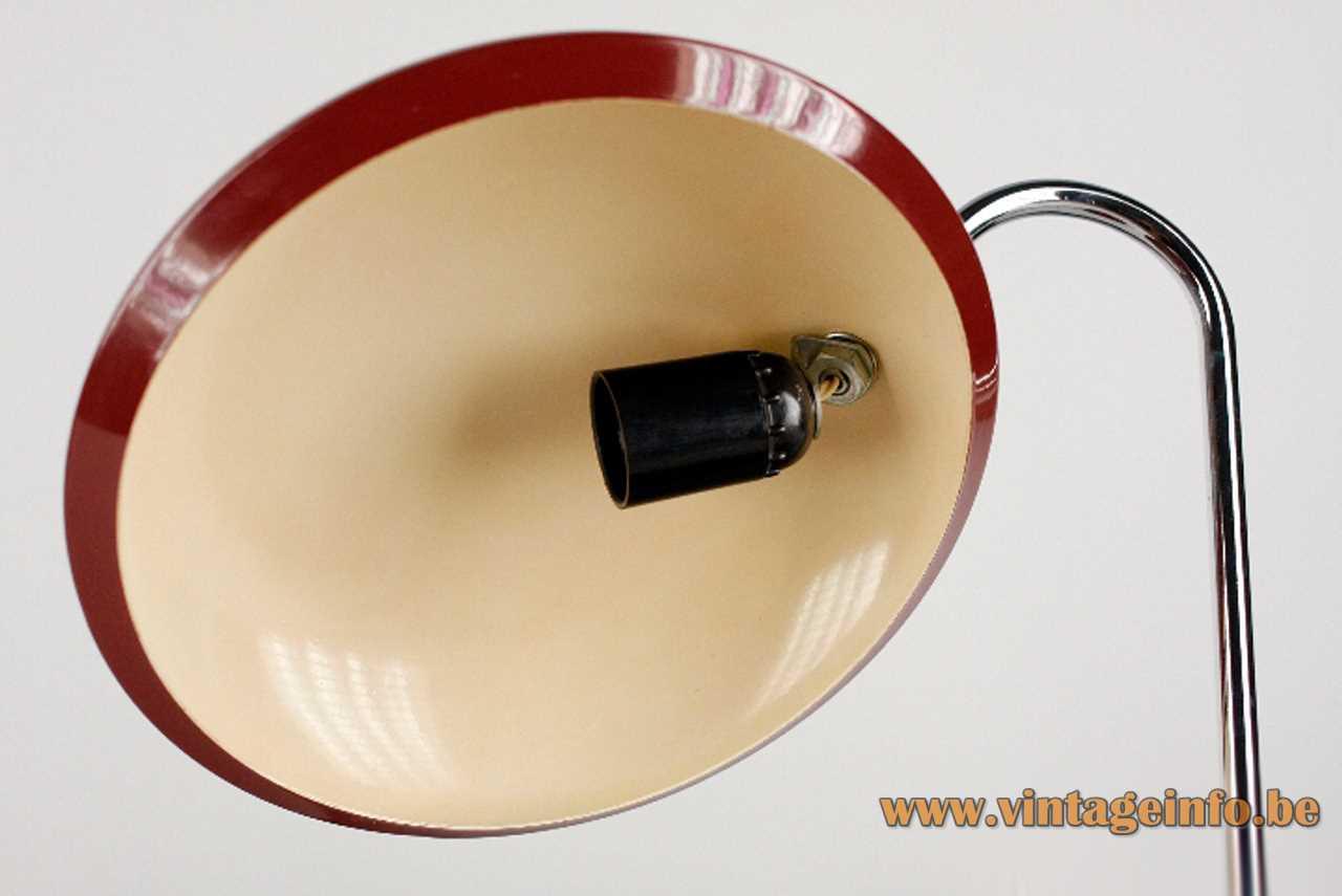 Lupela desk lamp Cisne round red lampshade white inside black Bakelite E27 socket 1970s 1980s Spain
