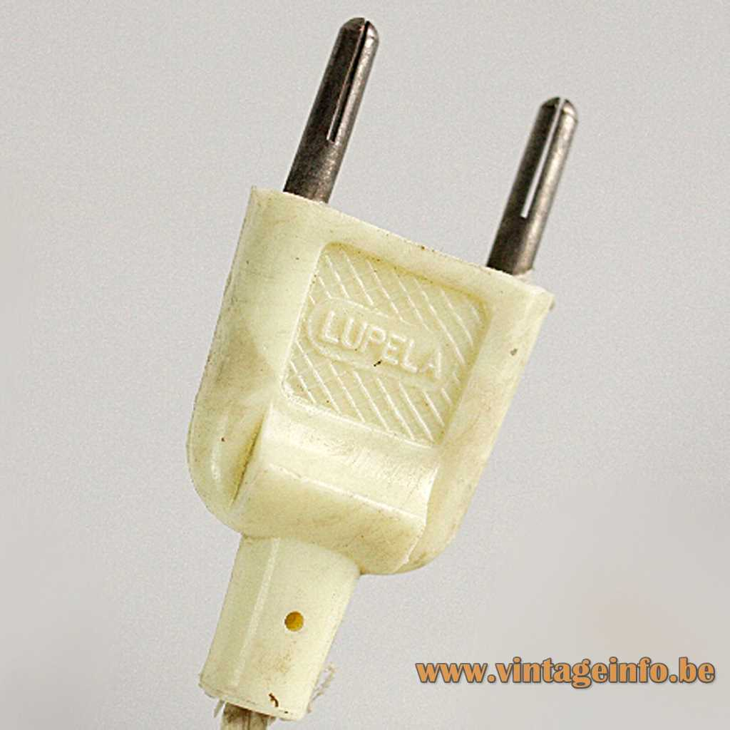 Lupela desk lamp Cisne white plastic plug with logo 1970s 1980s Spain