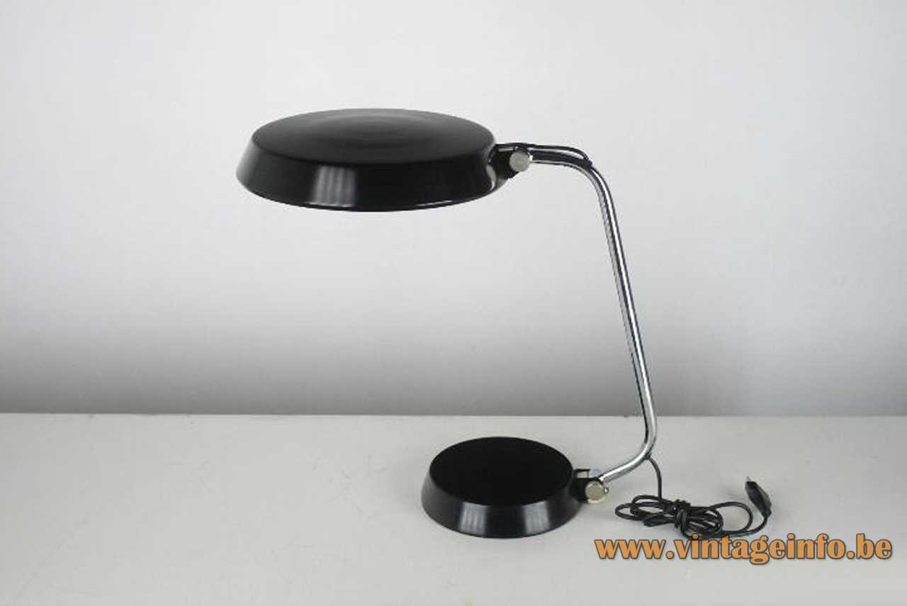 Ma-Of Spain desk lamp black round base & lampshade curved chrome rod 1970s 1980s Maof 2 sockets