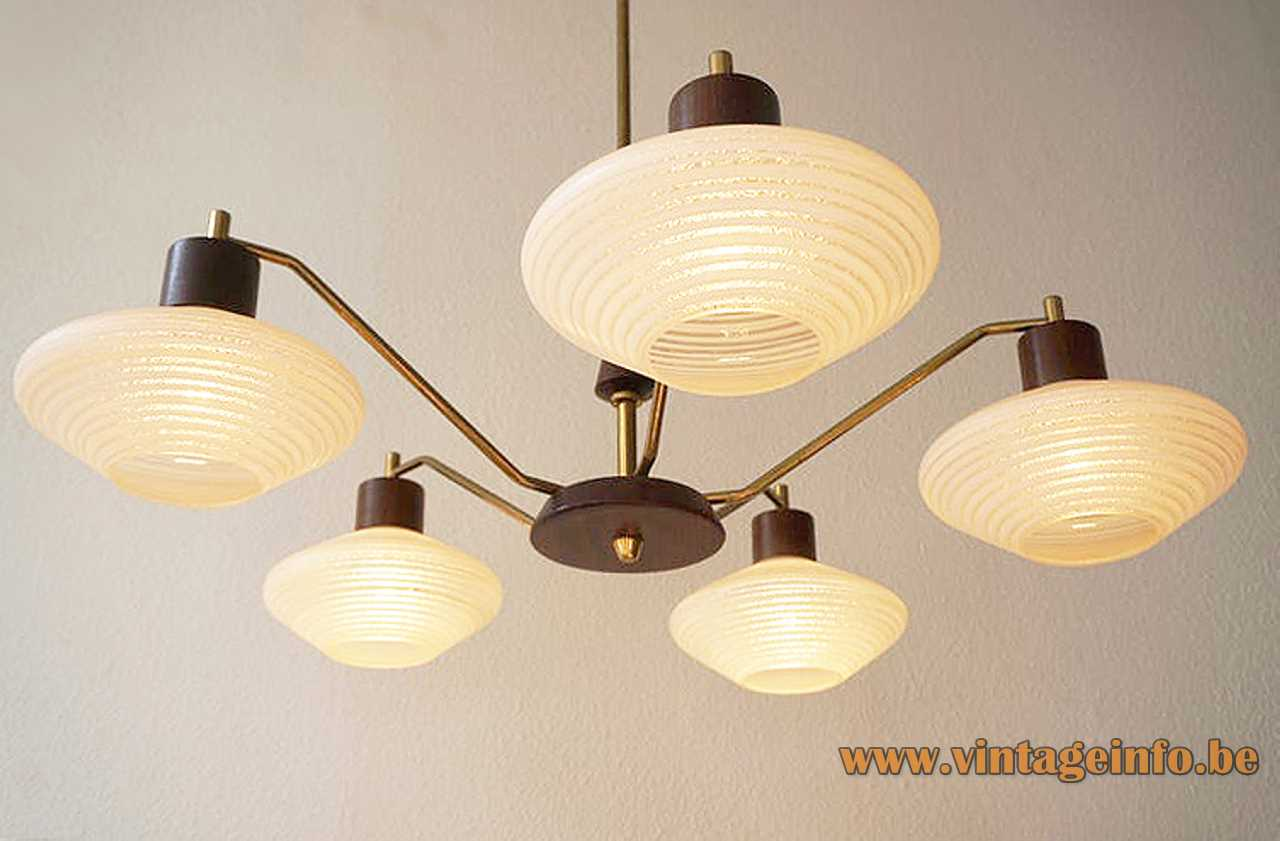 assive Belgium 1960s chandelier brass curved rods 5 striped opal glass lampshades teak lampshade holders 1970s