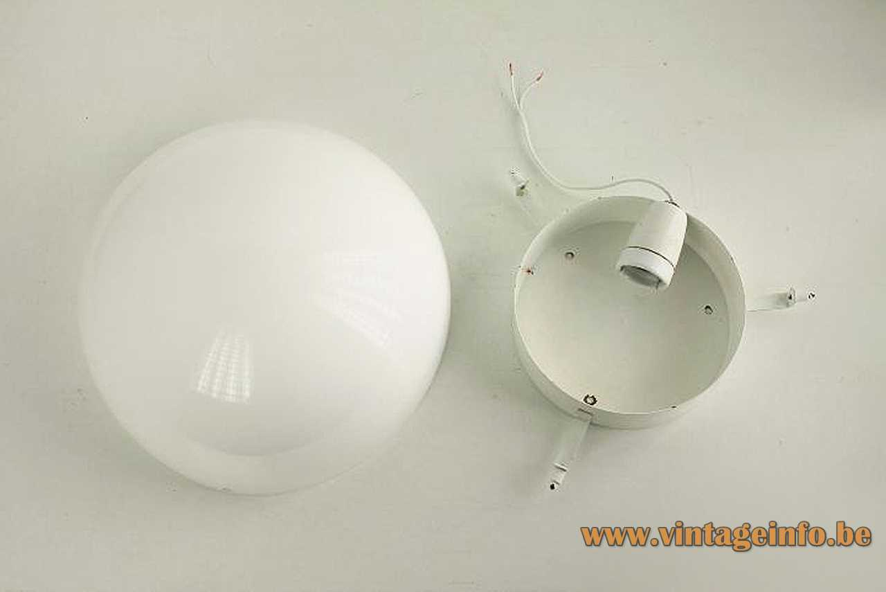 Metalarte acrylic round flush mount or wall lamp white half round plastic lampshade 1970s Barcelona Spain