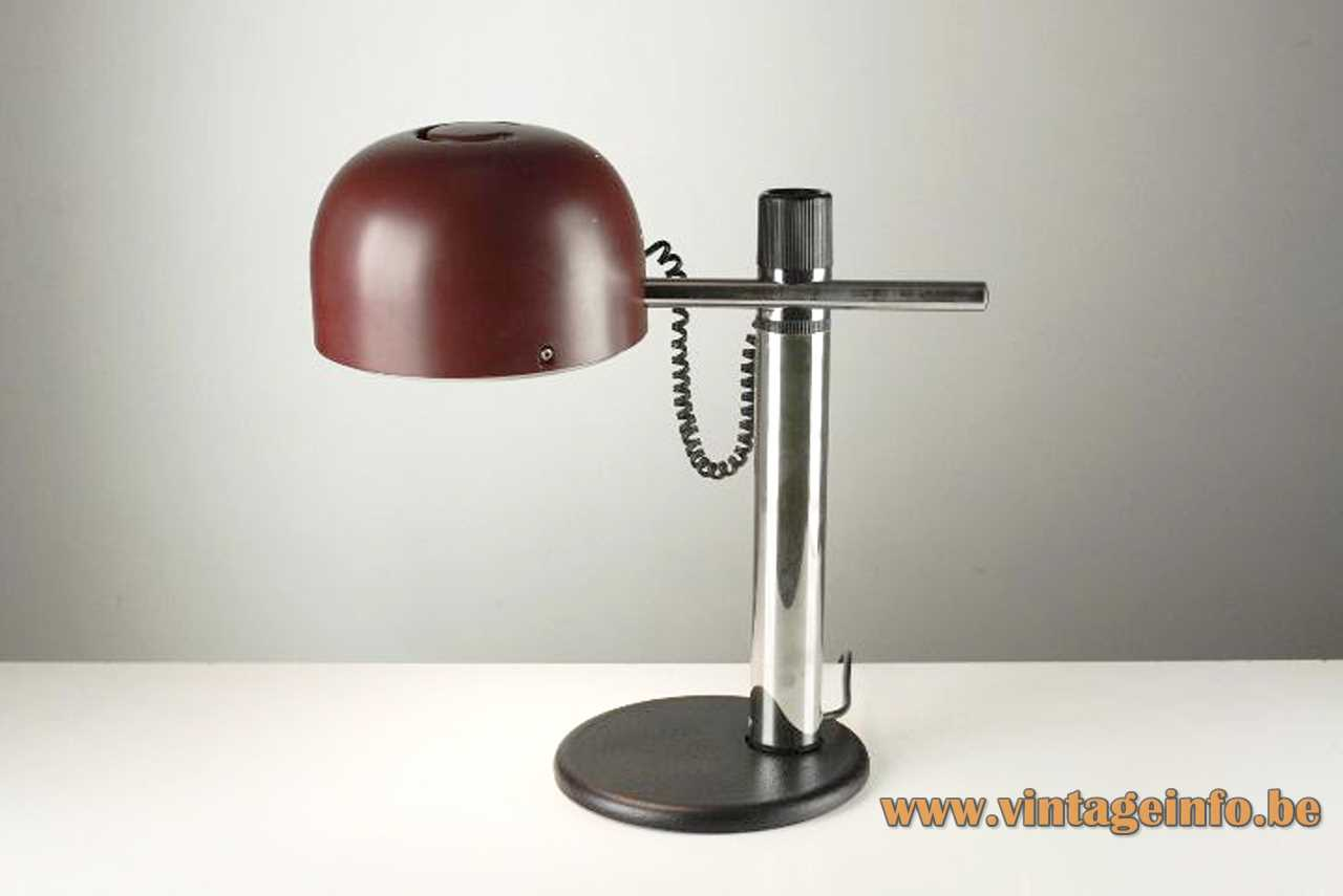 Metalarte maroon desk lamp flat round black base 2 chrome rods half round lampshade 1970s Spain