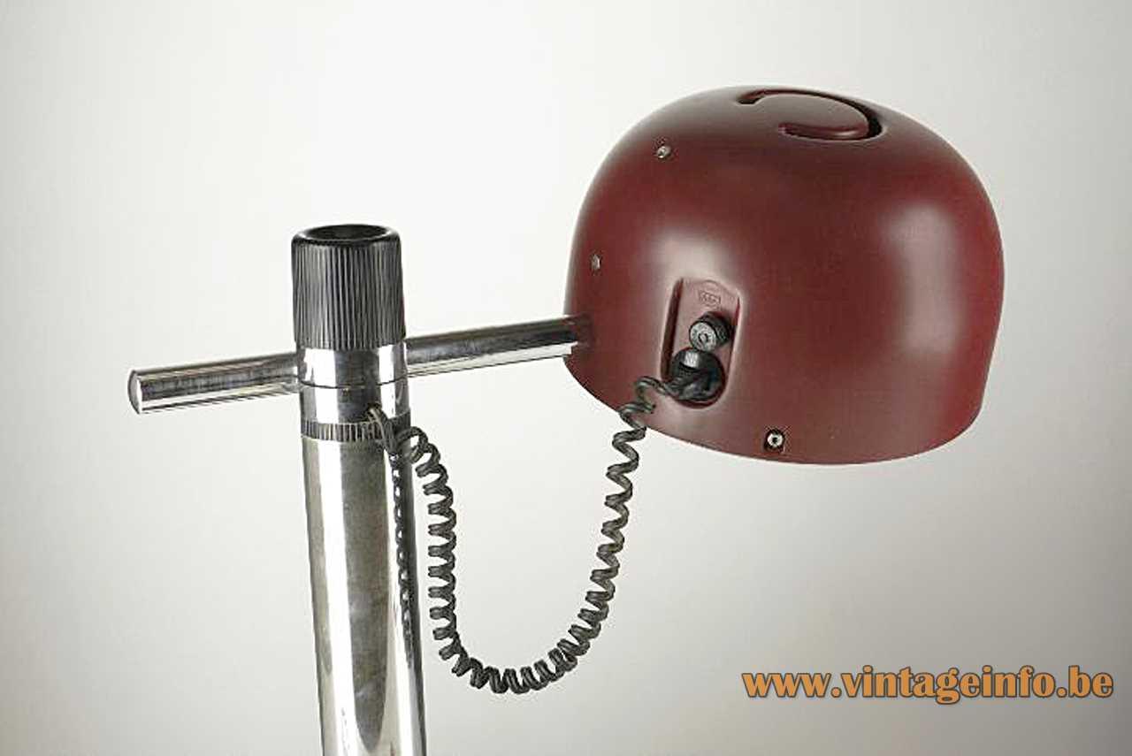 Metalarte desk lamp chrome rods maroon lampshade black base Spain 1970s MCM Mid-Century Modern