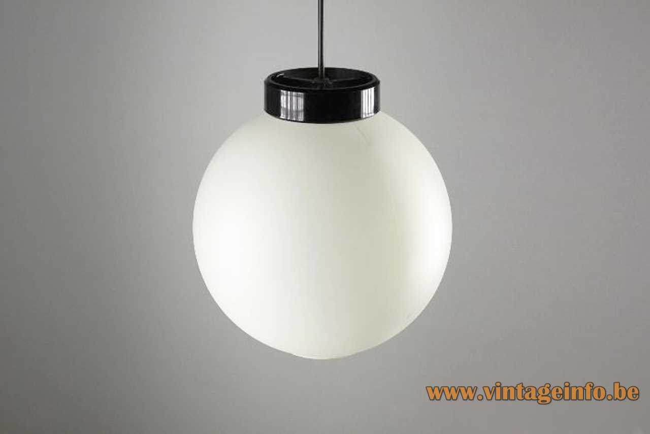 Miguel Milá Globo pendant lamp 1964 design white acrylic globe lampshade black ring Tramo Polinax 1960s