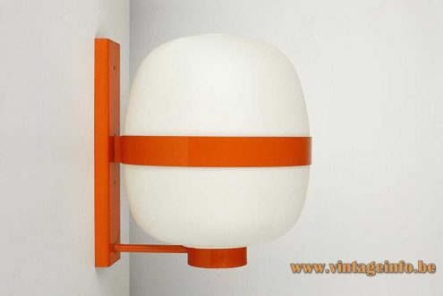 Tramo wall lamp Wally design: Miguel Milá white opal oval globe orange metal 1960s Spain MCM Mid-Century Modern